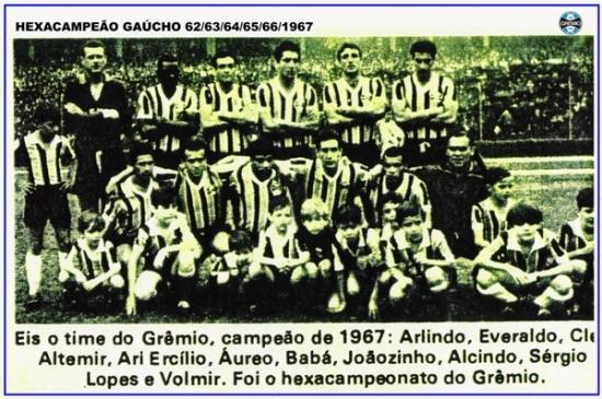 Resultado de imagem para hexa campeao em 1967 gremio x brasil